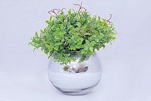 Vaso de Vidro Espelhado com Buchinho Verde