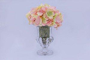 Vaso de Vidro Sussex com arranjo de hortênsia