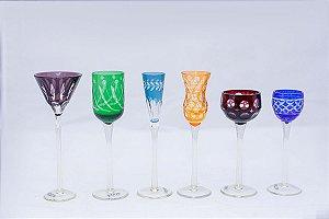 Conjunto 6 Taças de Cristal Lapidadas p/ Licor