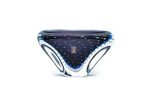 Cachepot Retangular Azul Oxford em Cristal