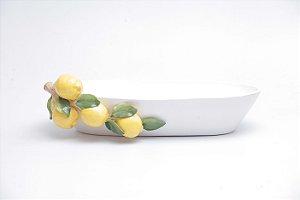 Floreira Branca em cerâmica  com Galhos de Limão
