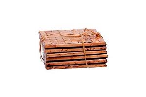 Porta Copos em Bambu Natural com 6 pçs