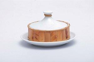 Manteigueira em Cerâmica com Aplicação de Bambu Natural