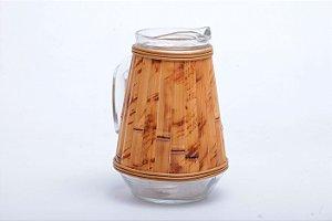 Jarra de Vidro com Aplicação de Bambu Natural