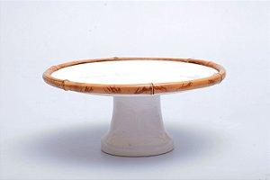 Boleira de Cerâmica com Detalhe em Bambu Natural
