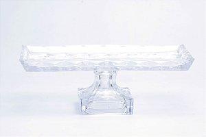 Prato para Bolo Retangular Cristal de Chumbo com Pé