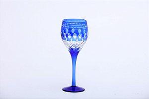 Conjunto de Taças para Água em Vidro Lapidado Azul 6 pçs