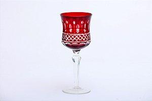 Conjunto de Taças para Água em Vidro Cristalino com Lapidação Vermelha 6pçs