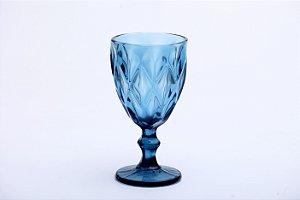 Conjunto de Taças de Água Diamond em Vidro Azul 6pçs