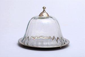 Prato para Servir de Aço Inox com Tampa Optic Glass 23 cm