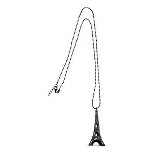 Colar Torre Eiffel preto com Strass