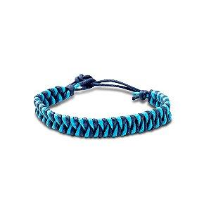 Pulseira cordão encerado azul
