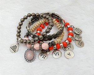 Conjunto de pulseiras, 4 peças, mandamentos, prateado