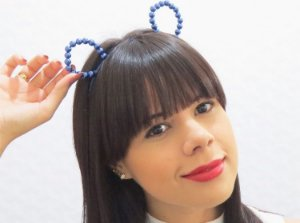 Tiara gatinho pérola (azul)