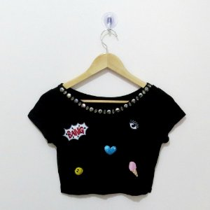 Cropped Patches - Tam. único - Cores diversas