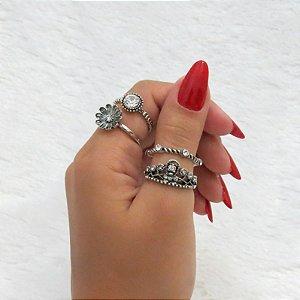 Conjunto de anéis com 4 peças, inspired primavera, prateado