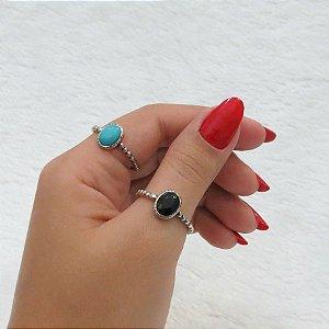 Dupla de anéisprateado,  basic (preto e azul royal)