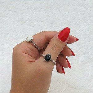 Dupla de anéis, prateado, classic (preto e branco)