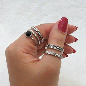Conjunto de anéis com 5 peças, pandora inspired, prateado