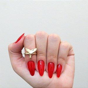 Anel de falange, rabo de baleia, dourado - REF: F017