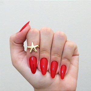 Anel de falange, estrela do mar, dourado