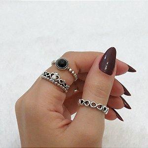 Conjunto de anéis com 3 peças, inspired black