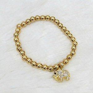 Pulseira AKIN, elefante, dourada brilho - REF P027