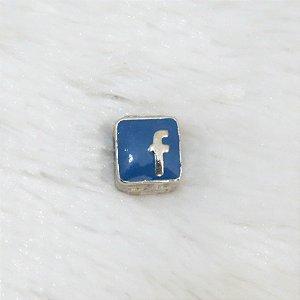 Berloque passante, resinado, prateado, ícone facebook