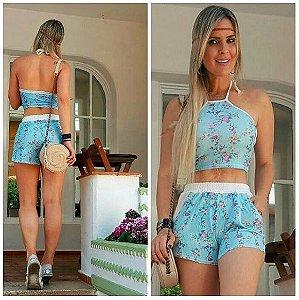 Short summer, floral azul céu, tam. único
