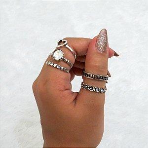 Conjunto de anéis com 5 peças, love cristal, prateado - REF: K004