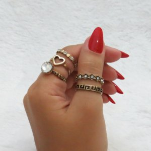 Conjunto de anéis com 5 peças, love cristal, dourado