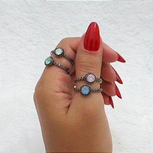 Conjunto de anéis com 4 peças, colors candy, prateado