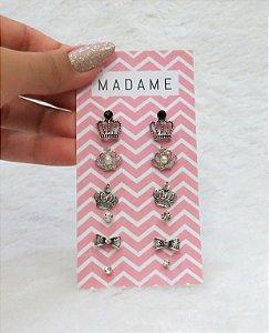 Kit Madame, 6 pares de brincos, prateado, coroa fashion, pérola