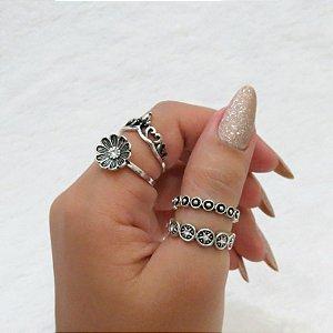 Conjunto de anéis com 4 peças, primavera fashion, prateado