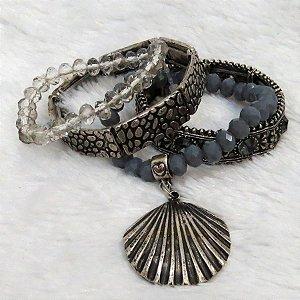 Conjunto de pulseiras ays, 4 peças, concha, lilás