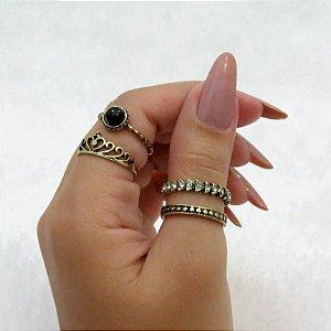 Conjunto de anéis com 4 peças, coroa basic strass, dourado