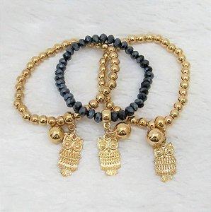 Conjunto de pulseiras isla, 3 peças, coruja, dourada
