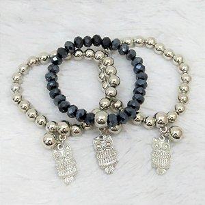 Conjunto de pulseiras isla, 3 peças, coruja, prateada