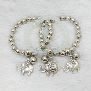 Conjunto de pulseiras isla, 3 peças, elefante, prateada, cristal II