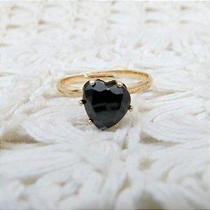 Anel love, dourado, regulável, black