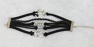 Pulseira belle, infinito, love, ancora, coração, courinho preto - REF P044
