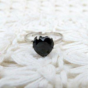 Anel love, prateado, regulável, black