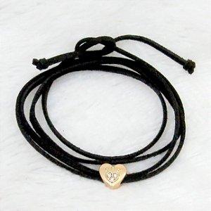 Pulseira courinho, heart, dourada - REF P057