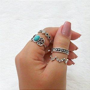 Conjunto de anéis com 4 peças, durban, turquesa, prateado