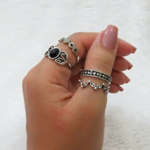 Conjunto de anéis com 4 peças, durban, black, prateado