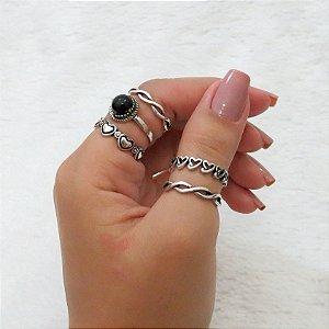 Conjunto de anéis com 5 peças, durban love, black, prateado