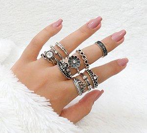 KIT Madame, conjunto de anéis com 10 peças, R$ 2,49 cada, grátis 1 falange