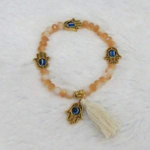 Pulseira sasha, mão de fátima dourada, areia