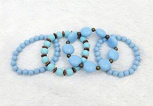 Conjunto de pulseiras, 4 peças, acqua - REF P066