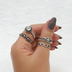 Conjunto de anéis com 4 peças, inspired love, prateado